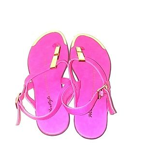 Hot Pink and Glod Flat Sandals